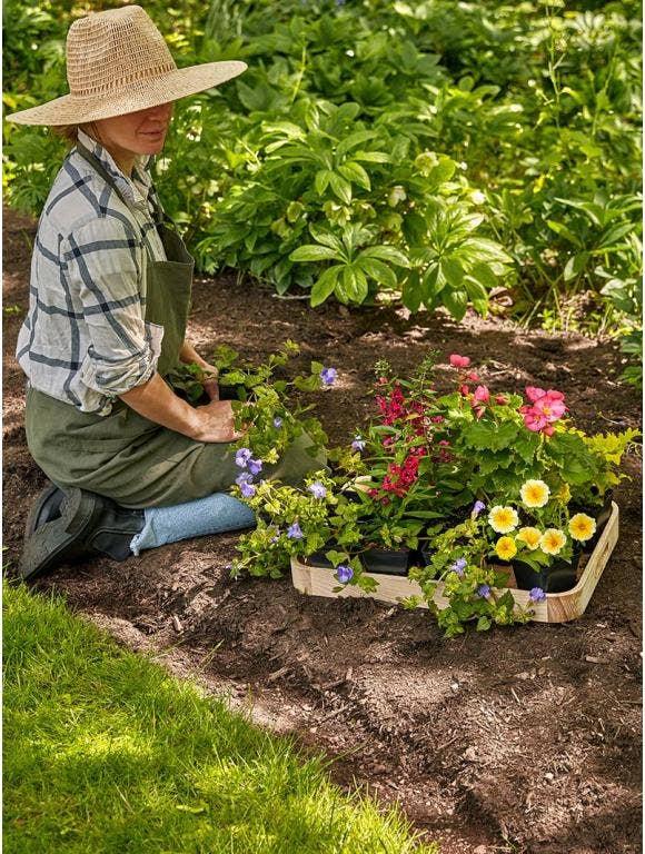 A gardener plants flowers in part sun.