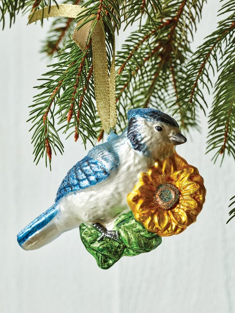 Blue Jay On Sunflower Glass Ornament