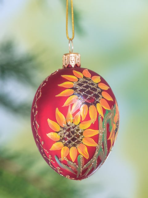 Red Egg With Floral Pattern Glass Ornament