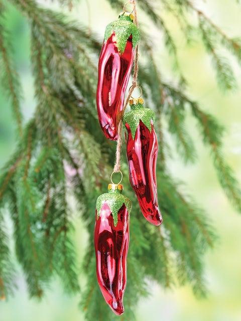 Chili Pepper Ristra of 3 Glass Ornaments