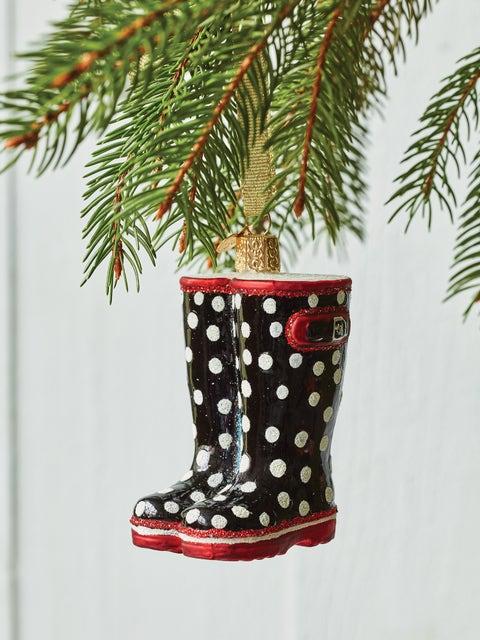 Garden Rubber Boots Glass Ornament