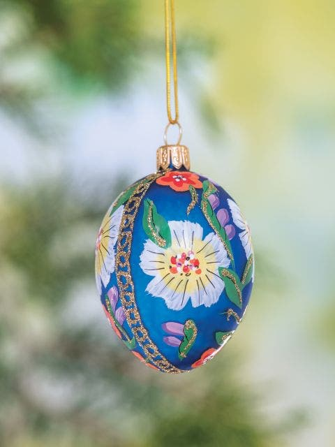 Blue Painted Egg With Flowers Glass Blown Ornament