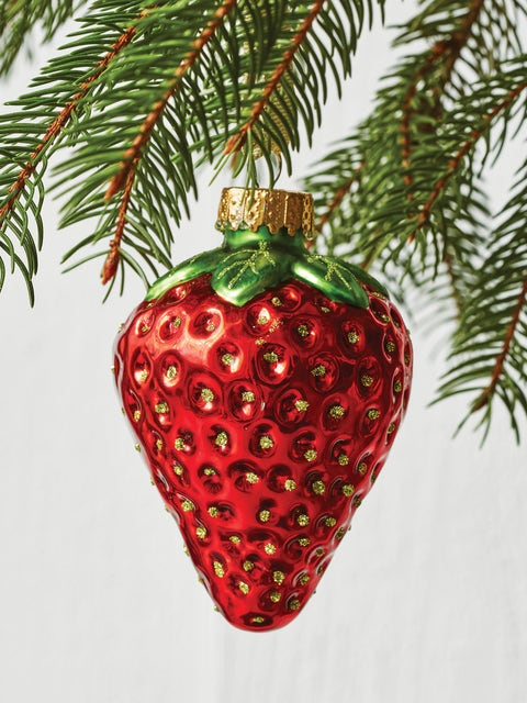 Large Strawberry Glass Ornament